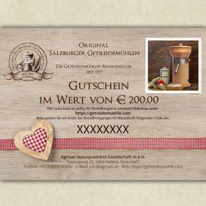 Buono regalo - valore 200€ - Mulini per cereali di Salisburgo