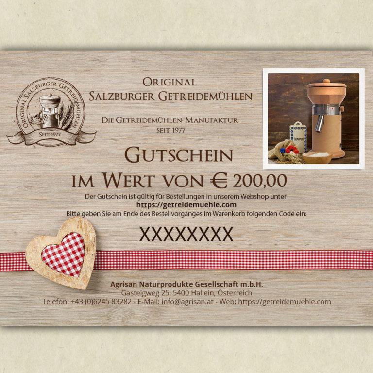 Gutschein im Wert von Euro 200,00 - Salzburger Getreidemühlen