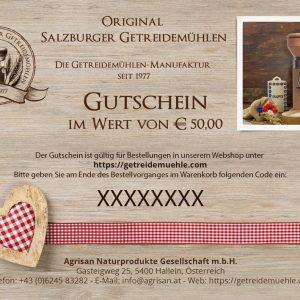 Buono regalo - valore 50€ - Mulini per cereali di Salisburgo